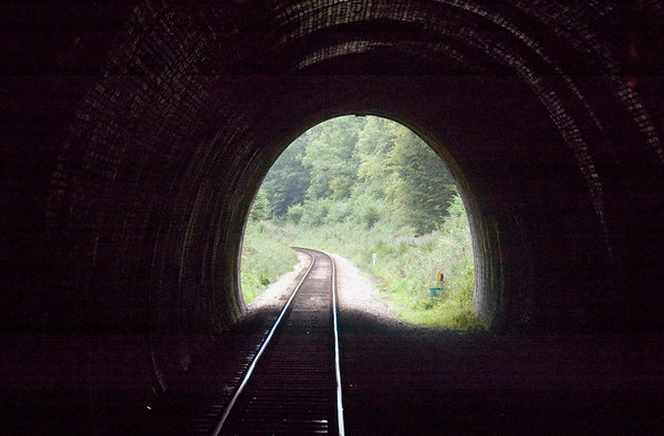 Sharpthorne Tunnel looking south, 16 September 2007 1 - 1625.   At 731 yards this is the longest tunnel on a British preserved line.  As can be seen, it is rather wet.  In winter icicles used to stretch from roof to rail; clearing them was a regular Sunday duty for the gangers.