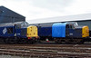 37703 & 37261, Bo'ness, 24 September 2016.  DRS's former WCRC 37261 is missing its fuel tanks, amongst other components.