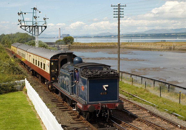 CR 419, Bo'ness, 15 July 2007 - 1302   The Caley tank arrives with the 1247 from Birkhill, passing Bo'ness Harbour, once busy exporting coal.
