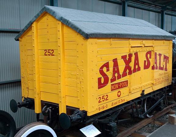 Saxa Salt No 252, Bo'ness, 15 July 2007   Ten ton salt wagon created from separate body and frame.  Body built late 19th century, frame 1903 by Hurst Neilson..