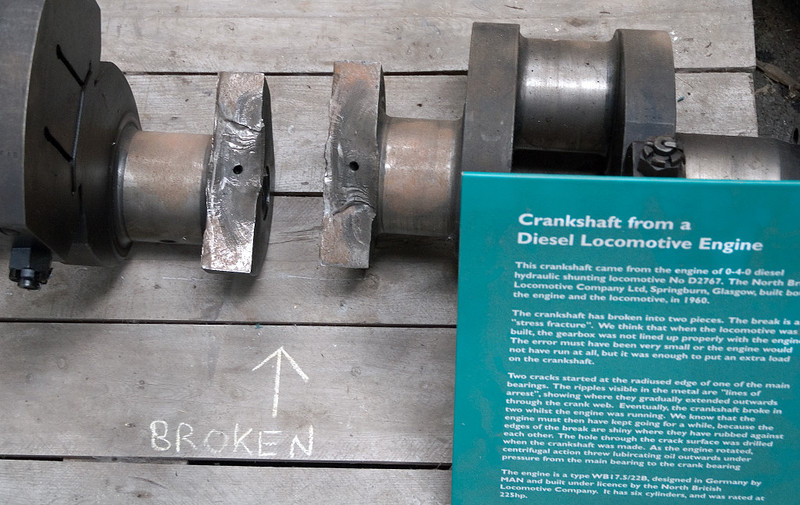 D2767, Bo'ness, 15 July 2   A broken crankshaft from the MAN engine built under license by North British.  The fracture is believed to have been caused by NBL's failure to align engine and gearbox accurately.