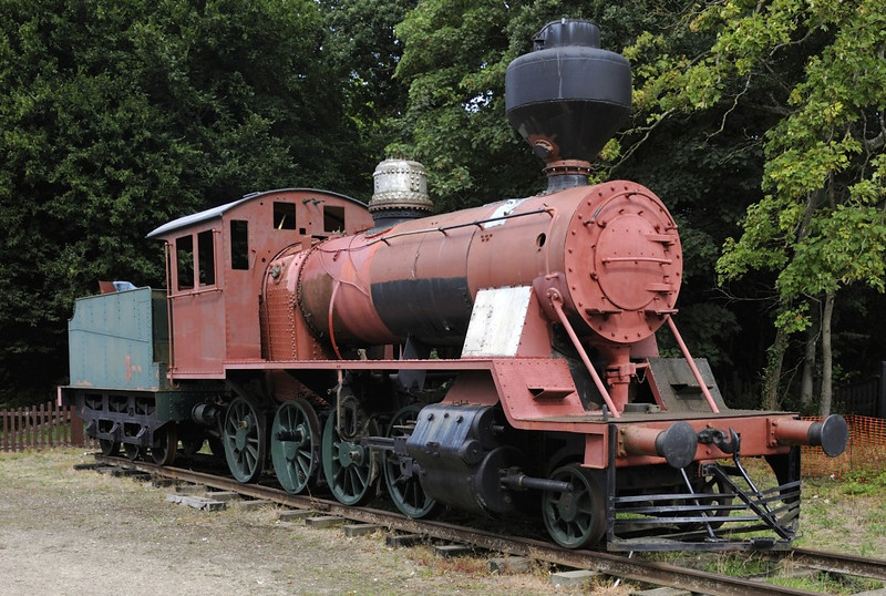 Finnish 2-8-0 No 1144, Bressingham, Sun 1 September 2013 1.  One of four 5ft gauge Tk3 class locos imported to the UK from Finland.  It was built in1948, and burns wood, hence the spark arrestor.