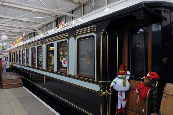 LNWR first class dining car, Quainton Road, 28 December 2012.  Built at Woverton in 1901, spent most of its life in the royal train until preservation.  Supposedly No 77, despite the 47 that is visible at right.