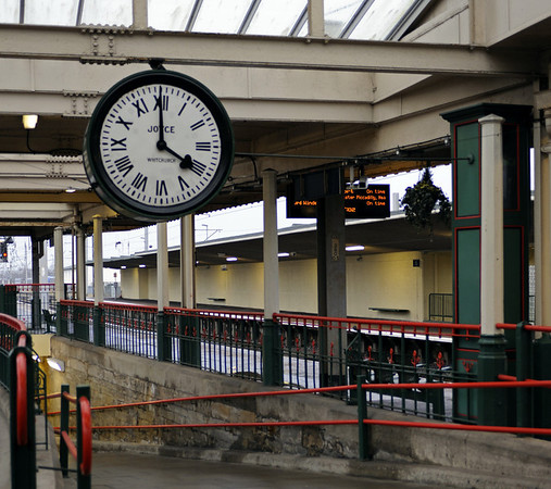 The 'Brief Encounter' clock, Carnforth Station, Thurs 16 February 2012.