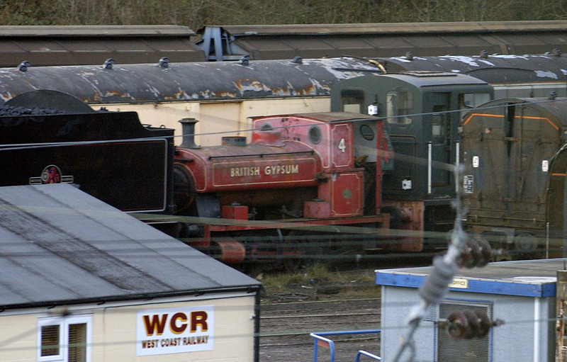 British Gypsum No 4, Carnforth Steamtown, 24 November 2005.  Waiting to move to Chasewater.