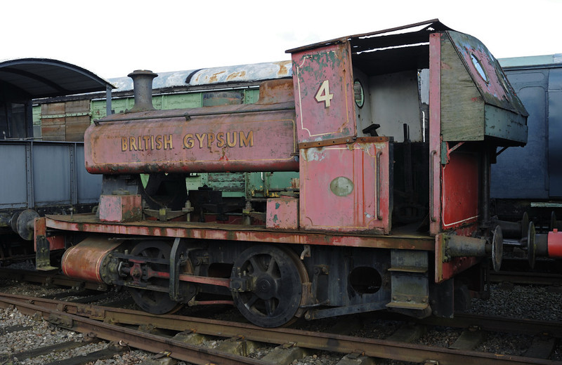 British Gypsum No 4, Brownhills West, Sat 15 December 2012.  Barclay 0-4-0T 2343 / 1953.  This loco was at Carnforth Steamtown for many years until 2005 when it was sold and moved to Chasewater.  NB that the boiler has been removed.  It moved to the Ribble Steam Railway in 2015.