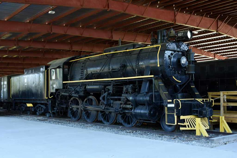 US Army Transportation Corps 2-8-0 607, USATC Museum, Fort Eustis, Virginia, 17 May 2017 1.  Built by Lima (8846 / 1945).  Bizarre yellow(!!) decoration, no cylinder cladding, no buffers (never carried by S160s which stayed in the USA).