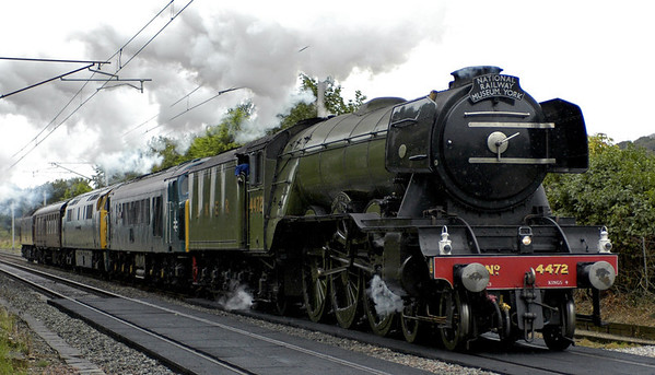 4472 Flying Scotsman, 45112 The Royal Army Pioneer Corps, D1023 Western Fusilier & 47854, Carnforth, 9 September 2005 - 1236 1.   A York - Carnforth - Crewe move for the 2005 Works open day.