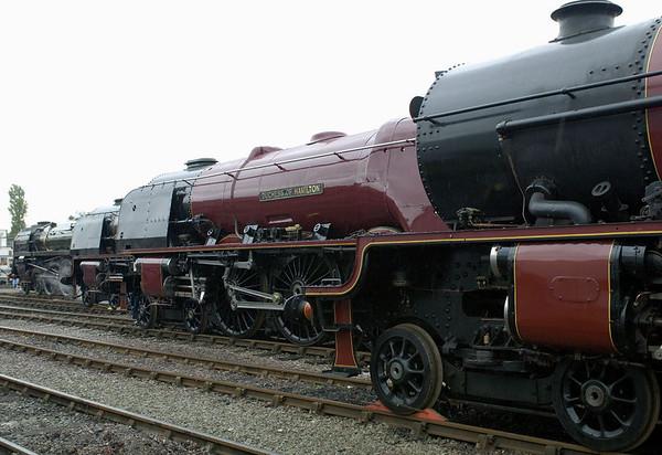 71000 Duke of Gloucester, 6233 Duchess of Sutherland, 46229 Duchess of Hamilton & 46203 Princess Margaret Rose, Crewe, 10 September 2005