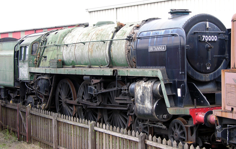 70000 Britannia, Crewe Railway Age, 14 August 2004 1.  It returned to steam in 2011, and was still at Crewe in 2017.