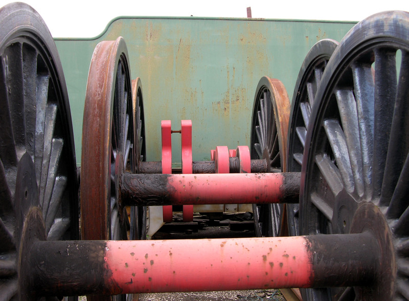Wheels, 7027 Thornbury Castle, Crewe Railway Age, 14 August 2004.  In 2017 at Weston-super-Mare, where restoration had begun.