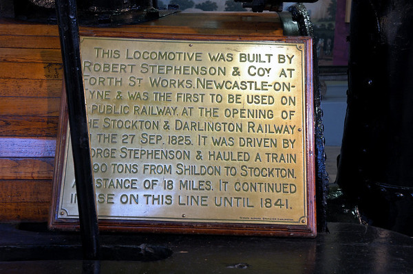 Stockton & Darlington Rly No 1 Locomotion, Darlington North Road, 15 November 2009 2    Locomotion's significance was recognised early, and it has been preserved and displayed at Darlington since 1857.
