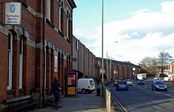 Darlington Railway Institute and site of North Road loco works, Darlington, 15 November 2009     North Road works opened in 1863 and closed in 1966, and built 2, 775 steam and diesel locos.  As can be seen, the site is now occupied by a Morrison's supermarket.