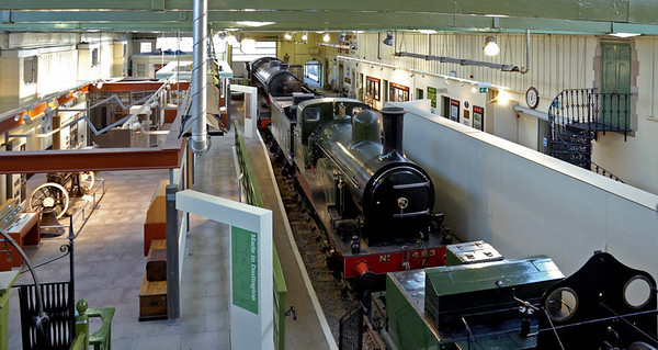 Head of Steam museum interior, Darlington North Road, 15 November 2009 1     As can be seen, the museum is quite small.  It has four locos.  Here are three built at Darlington: Stockton & Darlington Rly 0-6-0 No 25 Derwent (1845); North Eastern Rly Tennant 2-4-0 No 1463 (1885); and NER T3 (LNER Q7) 0-8-0 No 901, later BR 63460 (1919).