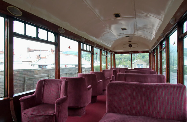 Devon Belle observation car, Kingswear, 17 May 2008 3   After the Second World War, the coach was again rebuilt, this time by Pullman at Preston Park, who converted it into one of two observation cars for use on the Southern's short-lived Devon Belle Pullman between Waterloo and Ilfracombe.  All the furnishings seen in this photo date from the 1947 rebuilding.
