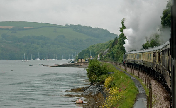 5239 Goliath, Britannia Crossing, 17 May 2008 - 1521    Running alongside the River Dart.  The A379 road from Torbay crosses the line here to reach the slipway in the centre of the picture for the Upper Ferry to Dartmouth.