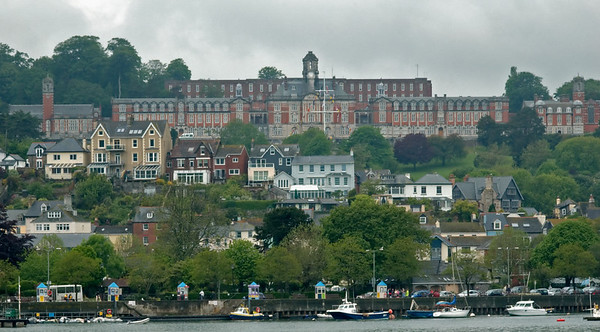 Britannia Royal Naval College, Dartmouth, from Kingswear, 17 May 2008 1   BRNC is the Royal Navy academy for potential officers, equivalent to Sandhurst and Cranwell.