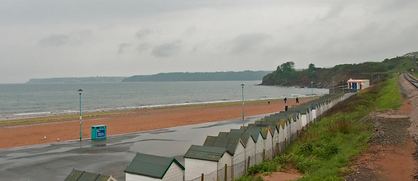 Looking south over Torbay, 17 May 2008    In the foreground are the rainswept Goodrington Sands, with Brixham in the centre distance and Berry Head in the far distance at left.