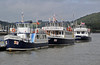 Dittisham Princess, Dart Venturer & Dartmouth Castle, Dartmouth, Sun 2 September 2012.  All three ships belomng to the Dartmouth Steam Rly and River Boat Co, and are used for river and coastal cruises..