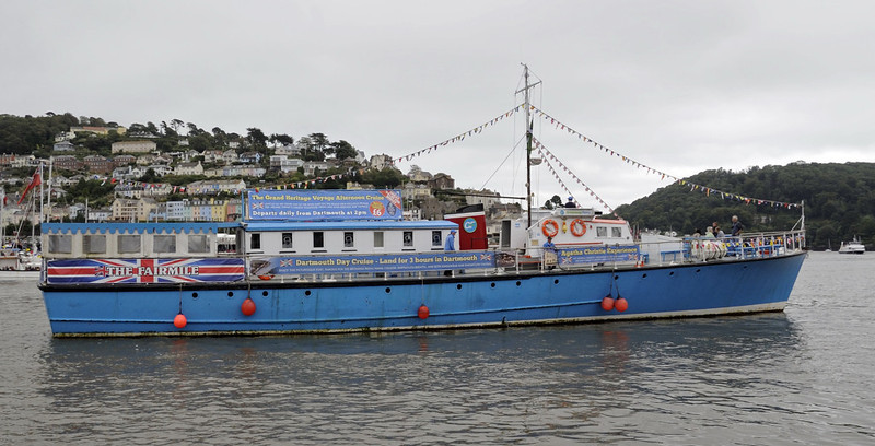 The Fairmile, Dartmouth, Sun 2 September 2012 1.  Fairmile B launch built in 1941 in Southampton for the Royal Navy as Rescue Motor Launch 497.  In all some 650 Fairmile Bs were built, but this is the last one in passenger service in 2012.  Previously named Western Lady III, she cruises from Torquay to the River Dart, and is now owned by Greenway Ferry Pleasure Cruises.