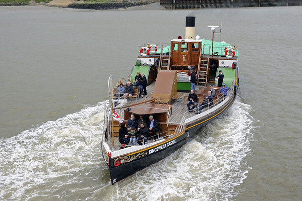 Paddle steamer Kingswear Castle, Chatham, Sat 9 June 2012.  Here is an earlier Dart pleasure craft, built at Dartmouth in 1924.  Now based at Chatham, she is owned by the Paddle Steamer Preservation Society.  Here she is seen starting a short trip on the River Medway.