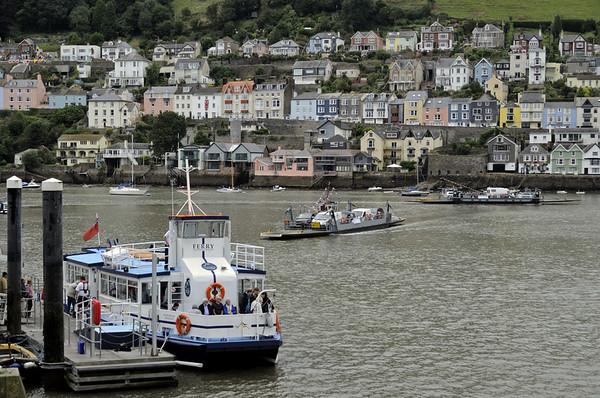Dartmouth (foot) passenger and both lower (vehicle) ferries, Kingswear, Sun 2 September 2012.  There are three ferry crossings between Kingswear and Dartmouth: here are two of them.  (The higher ferry is the third.)  The passenger ferry seen here is Kingswear Princess, also owned by the Dartmouth Steam Rly and River Boat Co.