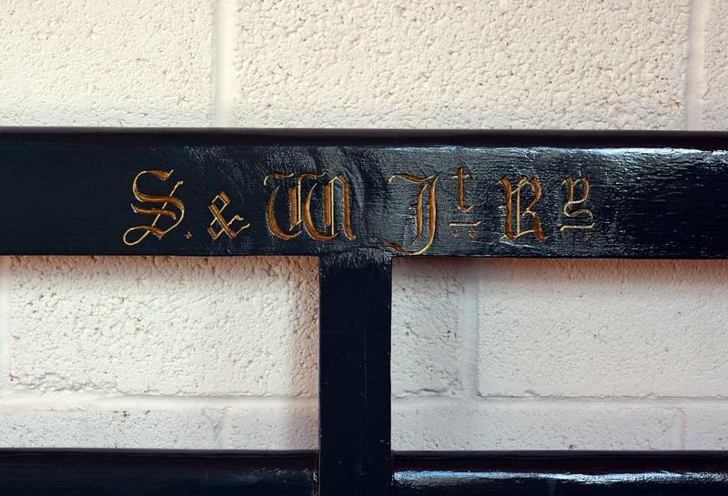 Severn & Wye Joint Railway bench, Whitecroft station, 2 September 2017