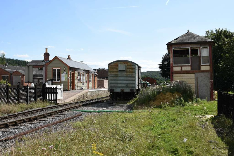 Whitecroft station, 2 September 2017 3.  Looking south.  The GWR signal box has come from Codsall, between Wolverhampton and Shrewsbury.