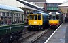 Class 109, 104 & 110 DMUs, Bury, Sun 5 November 2017 - 1206.  The Wickham and Birmingham RCW DMUs have uncoupled as the Calder Valley DMU approaches with the 1125 from Rawtenstall.