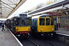 Class 110 & 104 DMUs, Bury, Sun 5 November 2017 - 1208.  The Calder Valley DMU continued with the 2J56 1125 Rawtenstall - Heywood.  The class 104 DMU continued with the 2J59 1145 Heywood - Rawtenstall without the Wickham DMU.  Both DMUs were built by the Birmingham Railway Carriage & Wagon Co.