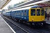 Class 104 & 109 DMUs, 2J59, Bury, Sun 5 November 2017 - 1204.  Birmingham RCW DMBS 50455 (nearest) & DMCL 50517 stand on arrival with the 1145 from Heywood.  The DMU has just been repainted.