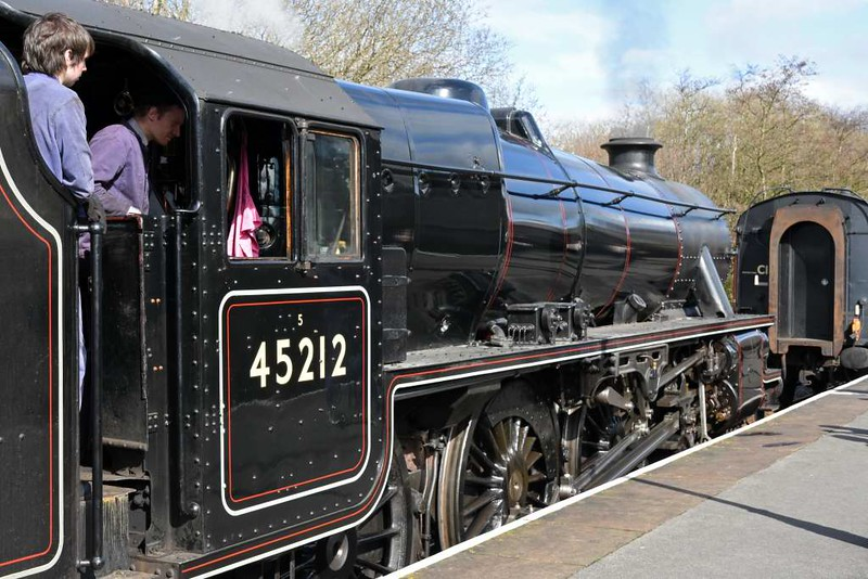 45212, Rawtenstall, Sun 12 March 2017 - 1230.   The Black 5 approaches the stock for the 1230 to Bury.