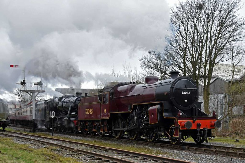 13065 & 48624, 1J61, Ramsbottom, Sun 12 March 2017 - 1355.  Setting off for Rawtenstall with the 1330 from Bury.