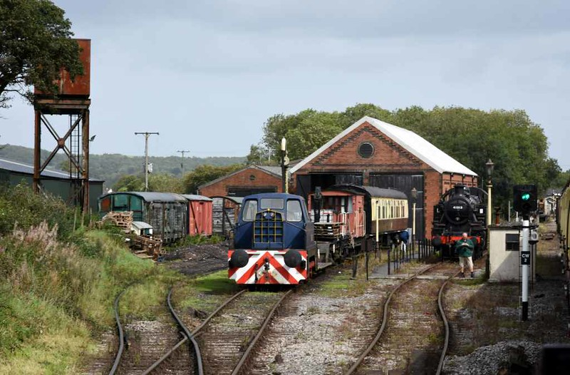 Cranmore West depot, 6 September 2017 1.  The 2014 diesel shed can just be seen at left.