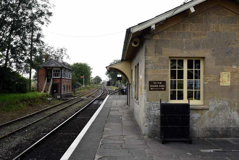 Cranmore station, 6 September 2017 4.  Looking west past the original station building towards Cranmore West.