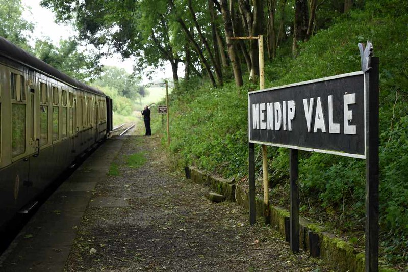 Mendip Vale halt, 6 September 2017.  The end of the line from Cranmore, 2.5 miles away.
