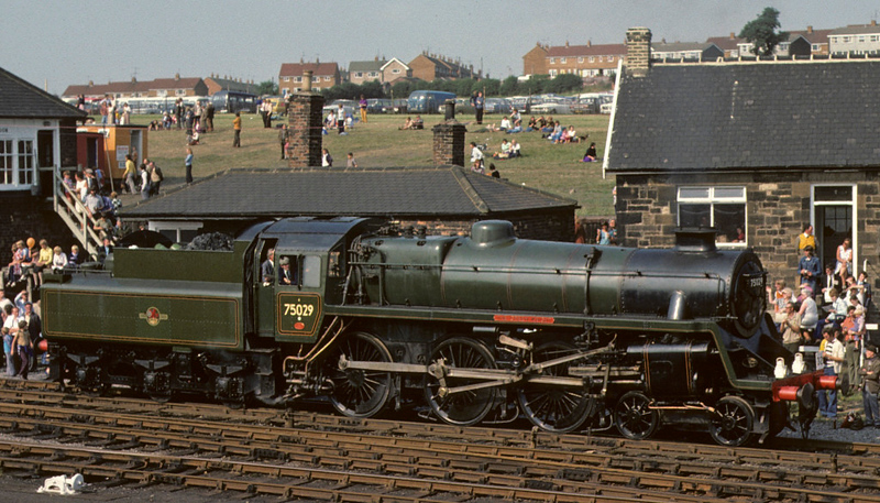 75029 The Green Knight, Shildon cavalcade, 31 August 1975.  Withdrawn from Stoke in 1967 and immediately bought by David Shepherd.  In 2017 it was stored out of use on the North Yorkshire Moors Railway.  Photo by Les Tindall.