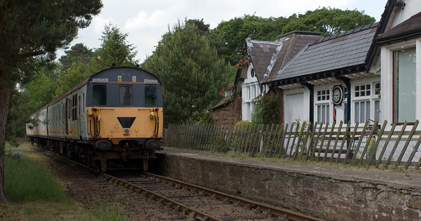 205009, Warcop 1:  9 June 2007.   The Thumper DEMU came to Warcop in 2004 by rail.  Its route includied the line from Appleby East, which the Eden Valley Rly Trust hope to reopen.  This side of the train still carries Connex colours...