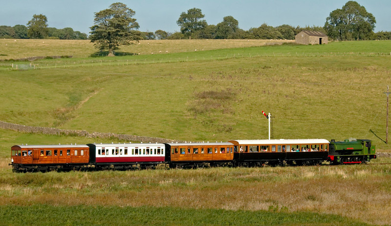 NCB Monckton No 1, Holywell, 20 September 2008 - 1538 2    Monckton runs into Stoneacre loop with the 1525 from Embsay, formed of the railway's 'Stately Trains' coaches: LYR No 1 (directors' saloon, 1906), and three six-wheelers: GER No 37, GNSR No 34 (1896) and GER No 14 (1889).