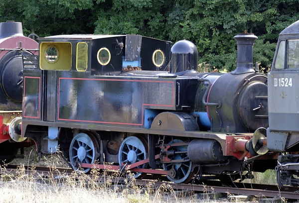 [Thomas], Bolton Abbey, Sun 25 August 2013.  Hudswell Clarke 1450 / 1922.  Originally a saddle tank loco, rebuilt as seen here at Embsay as Thomas the Tank Engine.