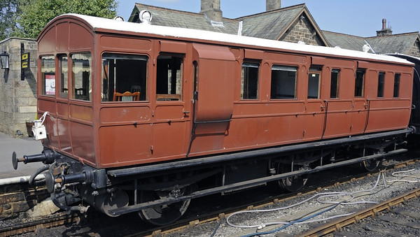 Great Eastern Rly No 14, Embsay & Bolton Abbey Rly, Sun 25 August 2013 1.  District engineer's saloon built by the GER at Stratford, London, in 1889.  Has its original frame and wheels.