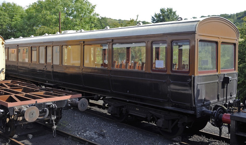 Lancashire & Yorkshire Rly No 1, Embsay & Bolton Abbey Rly, Sun 25 August 2013.  Directors' saloon built by the LYR at Newton Heath in 1906.  Compare this with the LNWR directors' saloon seen in the following photos.