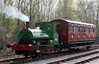 Teddy, Preston Riversway, Sun 17 April 2016.  The tiny loco poses with the latest North London Rly carriage body restored by the Furness Rly Trust.  Teddy is Peckett 0-4-0ST 2012 / 1942, and was making a guest appearance on the RSR for their industrial locos gala.  Note the tiny driving wheels!