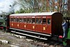 Newly restored North London Railway second class coach, Preston docklands, 17 April 2016.  The four NLR bodies preserved by the Furness Railway Trust finished their days on miners' trains in west Cumberland.  They have been given matching destination boards, in this case Arlecdon and Egremont. This is the second second class NLR coach restored by the Trust.