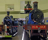 Caledonian Rly 4-2-2 No 123, Glasgow & South Western Rly 0-6-0T No 9 & Highland Rly 4-6-0 No 103, Riverside Museum, Glasgow, Sat 19 November 2011.