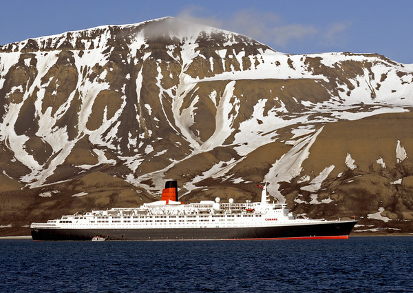 Queen Elizabeth 2, Longyearbyen, Svalbard (Spitzbergen), 8 June 2008.  Here is QE2 in the Arctic in her final season.  She was subsequently purchased by Dubai.