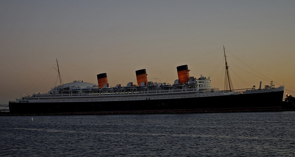 Queen Mary, Long Beach, California, 2 October 2006.  Two of the three mighty Cunard Queens built by John Brown's only a few miles from the Riverside museum site survive.  (Queen Elizabeth was lost in Hong Kong in 1972.)  Queen Mary has been at Long Beach since withdrawal in 1967.
