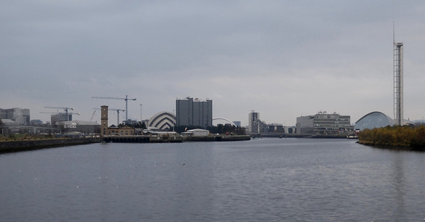 River Clyde, looking east from Riverside Museum, Glasgow, Sat 19 November 2011.  Preserved paddle steamer Waverley is partially visible in the distance at right.