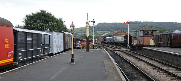 Winchcombe, looking towards Toddington, Sat 1 September 2012.  The signal box came from Hall Green, with a frame from Honeybourne West Loop Box.