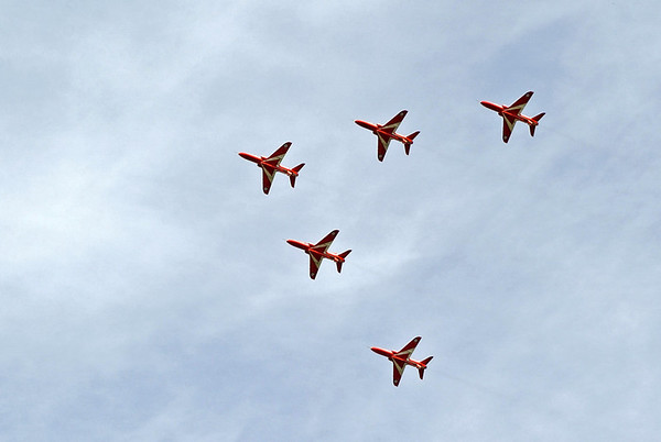Red Arrows, Winchcombe, Sat 1 September 2012 - 1500 1.  The RAF display team put in an unexpected appearance, flying in two V formations each of five Hawks. Here is the first...